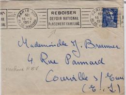 """Bois, Forêt, écologie  """"Reboiser Devoir National Placement Familial"""" Paris 16 Août 1951 Flamme RBV - Environment & Climate Protection"""