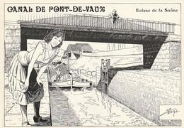 Rare Rare Cpm Canal De Pont De Vaux écluse De La Saône Dessin De Charles Berg - Pont-de-Vaux