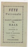 1963 - FETE PATRONALE De SAINT-LAMBERT (Ardennes) - BALS - Programme Des Danses - Programs