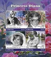 LIBERIA - 2021 - Princess Diana - Perf 4v Sheet - Mint Never Hinged - Liberia