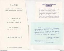 Fixe Programme Et Invitations Congrès FNTR Le Touquet Boulogne Carte Circulation Gratuite Car Saviem Apéritif Ricard ... - Programs