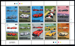 Grenada Grenadinen 1081-1090 KB Kleinbogen Mnh ** Voiture Car Auto Porsche Aston Martin Lotus Mclaren Ferrari Jaguar - Grenade (1974-...)