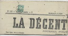 SAGE 4C VERT N°  63 SEUL JOURNAL COMPLET LYON 15 MAI 1877 COTE 750€ RARE - 1849-1876: Klassik
