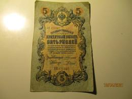 RUSSIA 1909 5 RUBLES BANKNOTE KONSHIN RODIONOV  , O - Russia