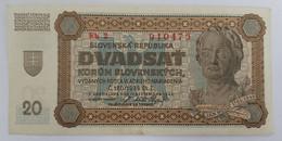20 DVADSAT KORUN SLOVENSKYCH 1942 SUP - Slovakia