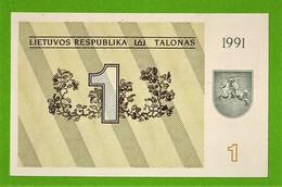 LIETUVOS RESPUBLIKA / LITUANIE / 1 TALONAS / 1991 - Lithuania