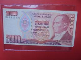 TURQUIE 20.000 LIRA 1970/88 Circuler - Turkey