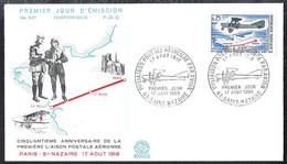 FRANCE 1968 FDC 1ere Liason Postale Reguliere Par Avion Saint-Nazaire Yvert 1565 - 1960-1969