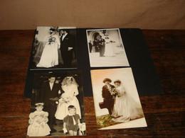 4 X HUWELIJK / POSTKAART + FOTO ! ---  ( Lot Kaft : Waf -  72 ) - Marriages