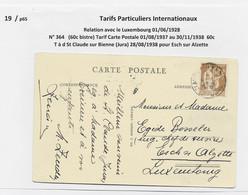 PAIX 60C BRUN SEUL CARTE ST CLAUDE JURA 1938 POUR LUXEMBOURG TARIF RELATIONS PEU COMMUN - 1932-39 Frieden