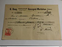 Reçu, G. Rouy, Armurier à Rossignol-Marbehan 1912. Oblitéré Marbehan Et Virton - Other