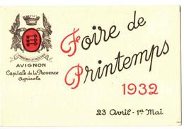 AVIGNON . FOIRE DU PRINTEMPS 1932 + CALENDRIER - Publicidad
