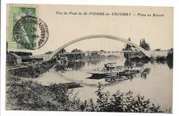 CPA 27 VUE DU PONT DE ST PIERRE DU VAUVRAY PRISE EN AMONT + TIMBRE 8 OLYMPIQUE 1924    TBE - Otros Municipios