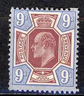 GB -1902 Yv. N° 115 SG N° 307  *  9 D  Bleu Et Violet-brun  Cote 120  Euro Ou  £ 60  BE  2 Scans - Unused Stamps