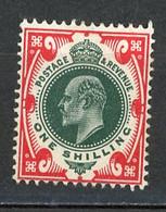 GB -1902 Yv. N° 117 SG N° 314  *  1s  Rouge Et Vert  Cote 90  Euro Ou  £ 55  BE  2 Scans - Unused Stamps