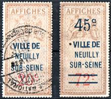 NEUILLY Taxes D'affichage 1937 1938 FISCAL FISCAUX AFFICHES REVENUE - Fiscale Zegels