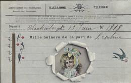 """Carte Fantaisie - """"Télégramme"""" Déposé à BLANKENBERGHE Le 13 Juin 1908 - Blankenberge"""