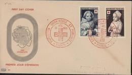 FDC First Day Cover Pro Juventute Premier Jour D'émission Exposition Croix Rouge Et Publicité Paris 15 12 51 YT 914 915 - 1950-1959