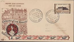 FDC First Day Cover Premier Jour D'émission Château Du Clos Vougeot Tastevin En Main CAD 17 11 1951 YT 913 Vin Vigne - 1950-1959