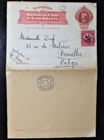 BRAZIL, Postal Stationary Entier Postal Circulated To Belgium, Brussels, 1912 - Cartas