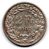 Suisse -  2 Francs 1907 TB+ - Switzerland
