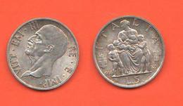 5 Lire 1936 FAMIGLIA Regno D'Italia Re Vittorio Emanuele III Family / Silver Coin - 1900-1946 : Víctor Emmanuel III & Umberto II