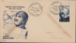 FDC First Day Cover Premier Jour D'émission Maurice Noguès CAD Rennes 13 10 1951 YT 907 Cote 65 Euros - 1950-1959