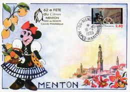 62e FETE Du Citron MENTON 06. Minnie Provençale. Timbre Oblitéré 1er Siècle Du Cinéma 18-2-1995 - TBE - Menton
