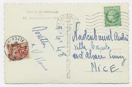 MAZELIN 2FR SEUL CARTE 5 MOTS PARIS 5.IV .1948 POUR NICE TAXE 3FR - 1945-47 Ceres De Mazelin