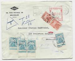 TAXE 10FRX3+2FRX4 NICE 1950 LETTRE BELGIQUE EMA 0175 BRUXELLES - Postage Due Covers
