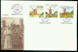 Fd Aland Islands FDC 2001 MiNr 192-194   Windmills. Archipelago Windmill. Timbered Windmill. Nest Windmill - Aland
