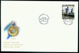 Fd Aland Islands FDC 2002 MiNr 213   Janne Holmen (Olympic Gold Medallist, Men's Marathon) - Aland