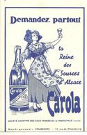 CPA Publicité Carola Reine Des Sources D'alsace Ribeauvillé Strasbourg Entier Postal - Pubblicitari