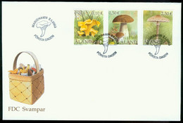 Fd Aland Islands FDC 2003 MiNr 214-216   Fungi. Cantharellus Cibarius. Boletus Edulis. Macralepiata Procera - Aland