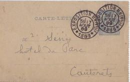 Carte-Lettre 15c Sage Bleu Obl. Exposition Universelle 1889 Le 7 Aout 89 Pour Cauterets - Standaardomslagen En TSC (Voor 1995)