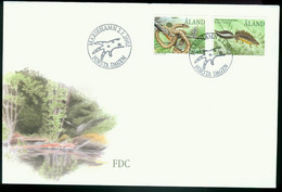 Fd Aland Islands FDC 2002 MiNr 199-200   Endangered Animals. Smooth Snake. Great Crested Newt - Aland