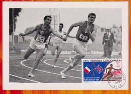 CM-Carte Maximum Card # 1969-New Hebrides-# Sport-Athletics 3° South Pacific Games # Passage De Relais, Running, Vila - Atletica
