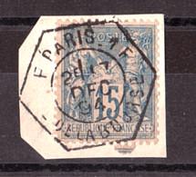 Sage 15 Cts Bleu (n° 90 Ou 101 Sur Fragment) - Cachet Hexagonal Bureau Auxiliaire F - Place De La Bourse - 17 Déc 1894 - 1876-1898 Sage (Type II)