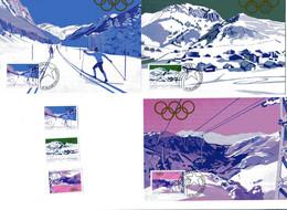 Olympische Spiele Lake Placid:  Liechtenstein 3 Maxikarten + Satz; Postfrisch/MNH - Winter 1980: Lake Placid