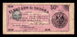 México 10 Pesos Estado De Sonora 1913 Pick S1068a BC F - Mexique