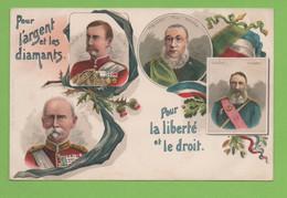 """CPA""""Pour L' Argent Et Les Diamants""""Pour La Liberté Et Le Droit""""KRUGER JOUBERT BULLER""""TRANSVAAL AFRIQUE DU SUD - Heimat"""