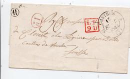Lettre Castres Gironde Pour Suisse  Du 15/9/1842  Cachet T12 + Marque De Transit LF9D + Décime Rural + Boite Rurale  H - 1801-1848: Vorläufer XIX
