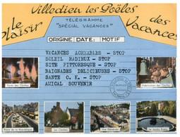 (NN 7) France - Villedien Les Poëles (telegram Shape Card) - Gruss Aus.../ Grüsse Aus...