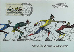 "► CALGARY - Cross Country Ski De Fonds ""Les Pionniers"" 1988 Winter Olympics Jeux Olympiques (Vaduz) Carte Maximum Card - Ski"