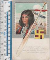 NATIVE AMERICAN WOMAN - SWASTIKA - TEEPEE - PADDLE - Native Americans