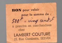 Sedan (08 Ardennes) Bon -avoir   LAMBERT COUTURE  (PPP28183) - Publicidad