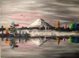 """Toile Peinture Acrylique Originale """"Plénitude Joyeuse"""" Signée. Mont Fuji, Japon. Originale - Acrilicos"""