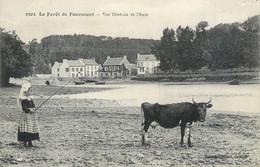 CPA 29 Finistère La Foret De Fouesnant Vue Générale De L'Anse Fillette Vache Costumes - Fouesnant