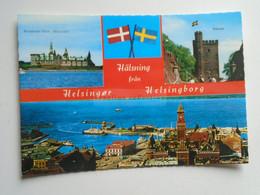 D177886 Helsingor DENMARK And Helsingborg SWEDEN Twin Towns - Sister Cities - Postcard - Sweden