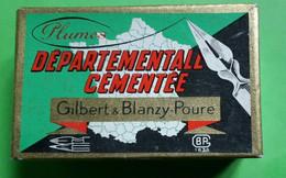 """BOITE 144 Plumes Sergent Major""""Gilbert Blanzy Poure""""Comté Gilbert""""Départementale Cémentée N° 2552""""crayons Stylos - Pens"""